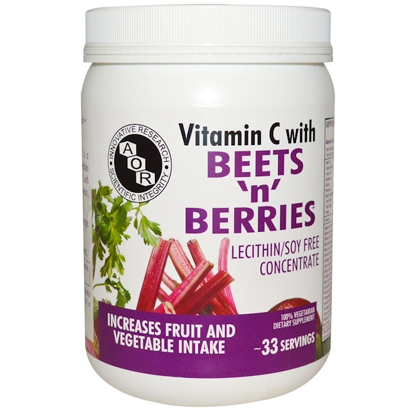 Advanced Orthomolecular Research AOR, Vitamin C with Beets 'n' Berries, Lecithin/Soy Free Concentrate , 500 g (Discontinued Item)
