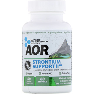 Advanced Orthomolecular Research AOR, Strontium Support II, 60 Vegan Capsules