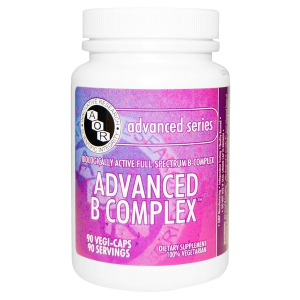 Advanced Orthomolecular Research AOR, Advanced Series, Advanced B Complex, 90 Veggie Caps