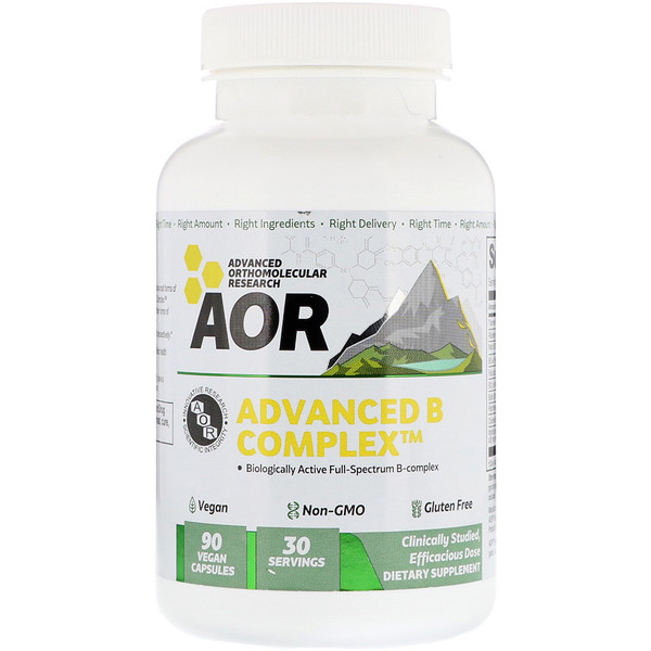 Advanced Orthomolecular Research AOR, Advanced B Complex, 90 веганских капсул