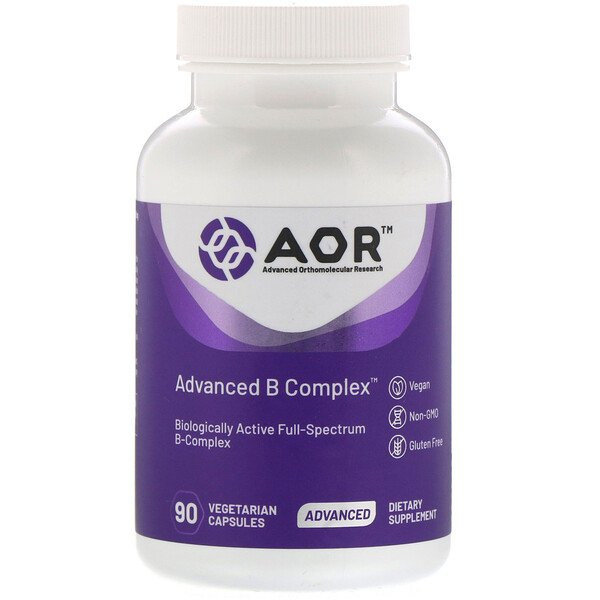 Advanced Orthomolecular Research AOR, Advanced B Complex, 90 Vegetarian Capsules