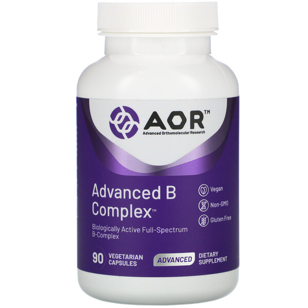 Advanced Orthomolecular Research AOR, Advanced B Complex, 90 Cápsulas Vegetarianas