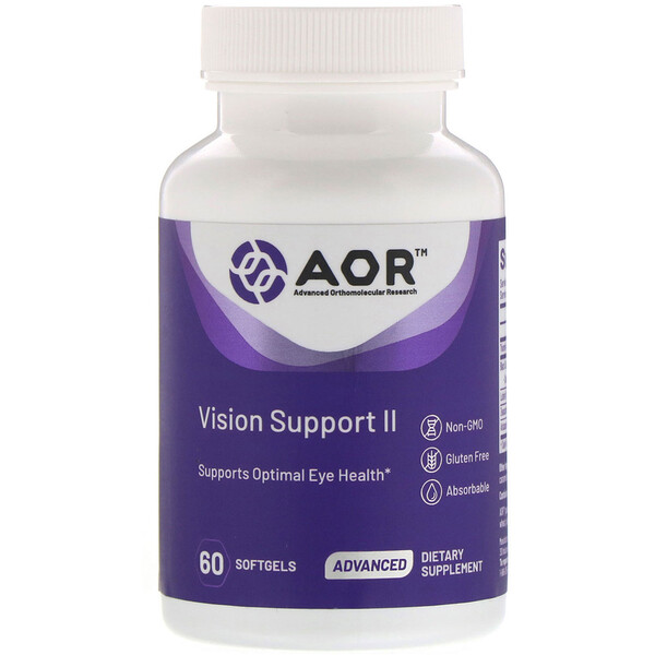 Advanced Orthomolecular Research AOR, Vision Support II, 60 Softgels