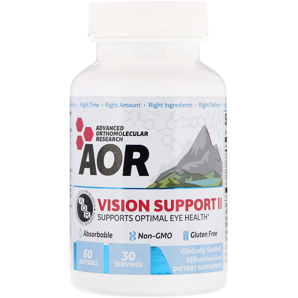 Advanced Orthomolecular Research AOR, Vision Support II, 60 cápsulas de gel
