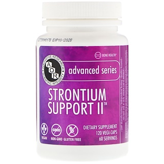 Advanced Orthomolecular Research AOR, Advanced Series, Strontium Support II, 120 Vegi-Caps