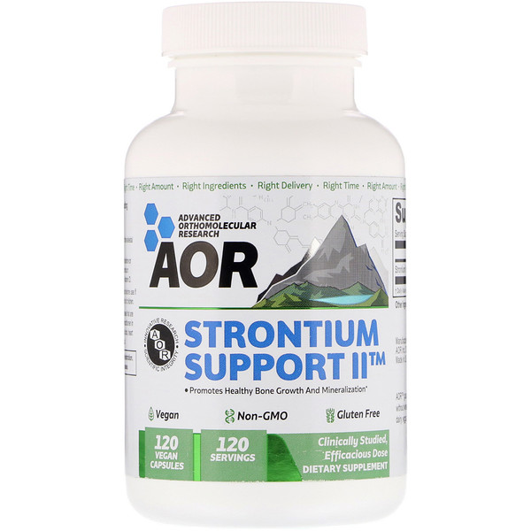 Advanced Orthomolecular Research AOR, Strontium Support II, 120 Vegan Capsules