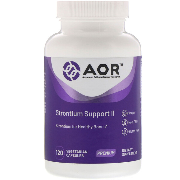 Advanced Orthomolecular Research AOR, Strontium Support II, 120 capsules végétariennes