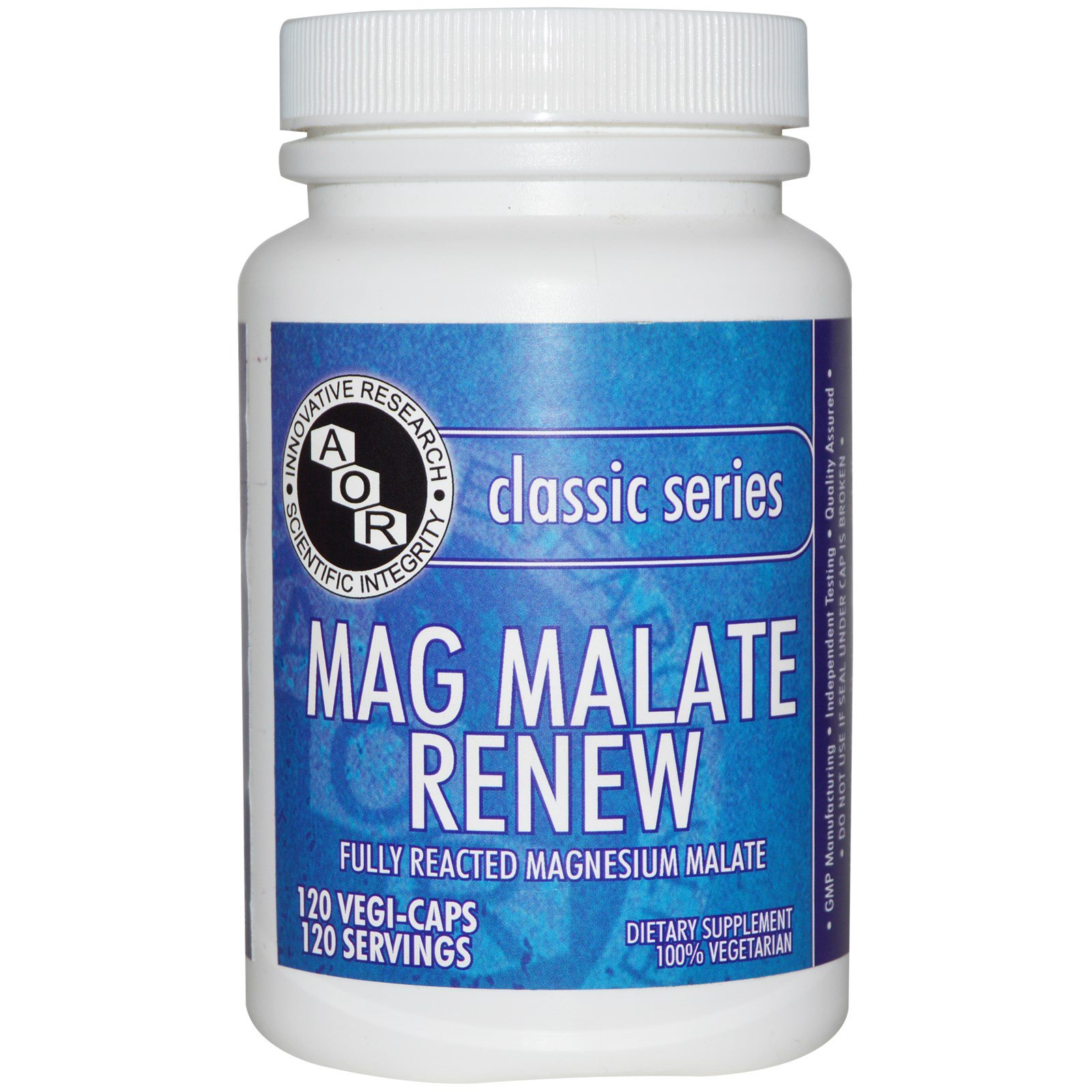 Advanced Orthomolecular Research AOR, Классическая серия, Mag Malate Renew, 120 растительных капсул
