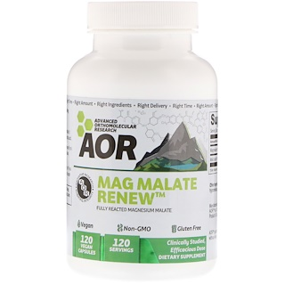 Advanced Orthomolecular Research AOR, Mag Malate Renew, 120 Vegan Capsules