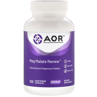 Advanced Orthomolecular Research AOR, Mag Malate Renew,120 粒素食膠囊