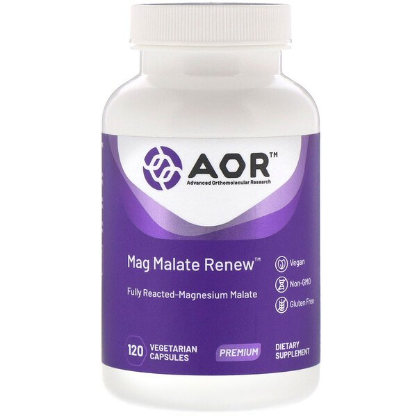 Advanced Orthomolecular Research AOR, Mag Malate Renew(マグマレートリニュー)、植物性カプセル120粒