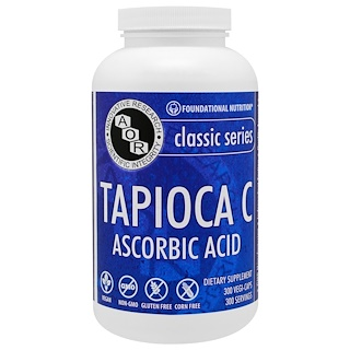 Advanced Orthomolecular Research AOR, Classic Series, Tapioca C, Ascorbic Acid, 300 Vegi-Caps