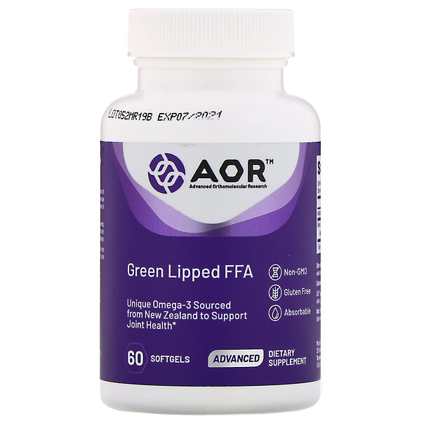 Advanced Orthomolecular Research AOR, Green Lipped FFA، 60 كبسولة هلامية