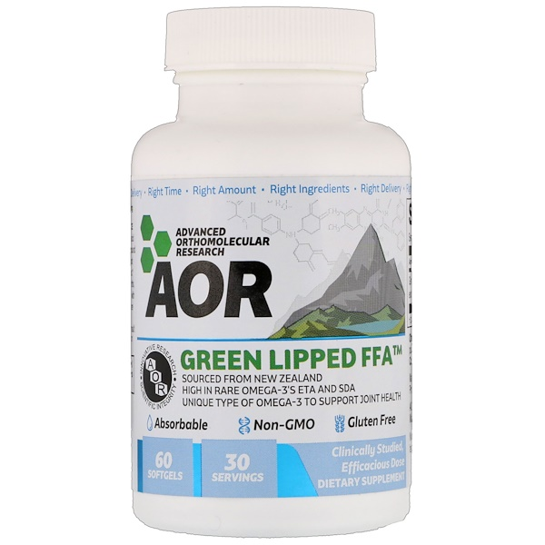 Advanced Orthomolecular Research AOR, Новозеландские зеленые мидии, 60 мягких таблеток