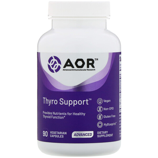 Advanced Orthomolecular Research AOR, Thyro Support, 90 Vegetarian Capsules (Discontinued Item)