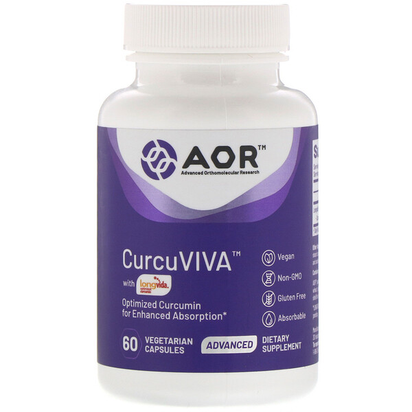 Advanced Orthomolecular Research AOR, Curcuviva, 60 Vegetarian Capsules