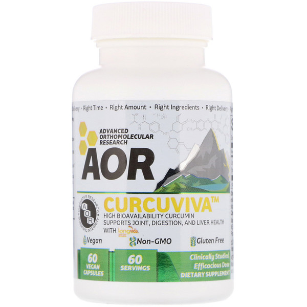 Advanced Orthomolecular Research AOR, CurcuViva, 80 mg, 60 Vegan Capsules