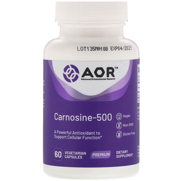 Advanced Orthomolecular Research AOR, Carnosine-500, 60 Vegetarian Capsules
