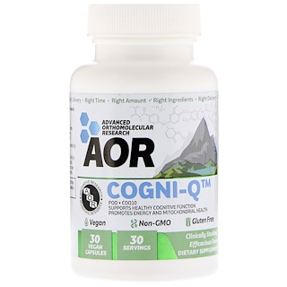 Advanced Orthomolecular Research AOR, Cogni-Q, 30 Vegan Capsules
