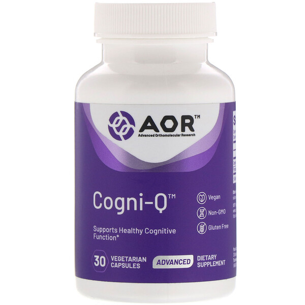 Advanced Orthomolecular Research AOR, Cogni-Q, 30 Vegetarian Capsules