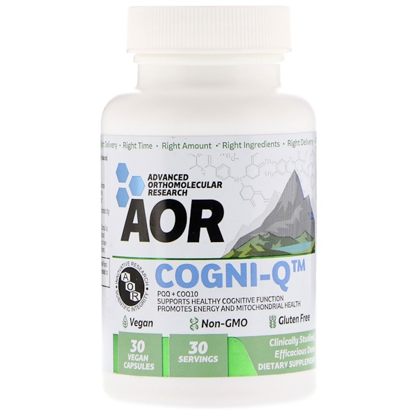 :Advanced Orthomolecular Research AOR, Cogni-Q, PQQ + CoQ10, 30 Vegan Capsules