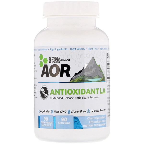 Advanced Orthomolecular Research AOR, مضاد الأكسدة LA، R (+) حمض ليبويك و أسيتيل سيستين، 90 كبسولة خضروات (Discontinued Item)