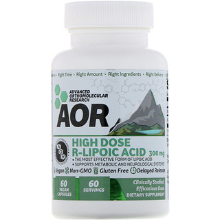 Advanced Orthomolecular Research AOR, High Dose R-Lipoic Acid, 300 mg, 60 Vegan Capsules