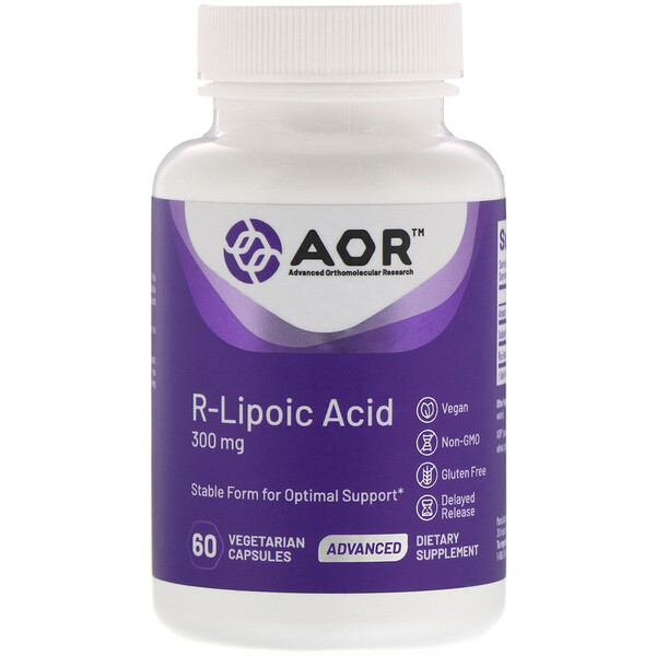 Advanced Orthomolecular Research AOR, Ácido lipoico R, 300 mg, 60 cápsulas vegetarianas
