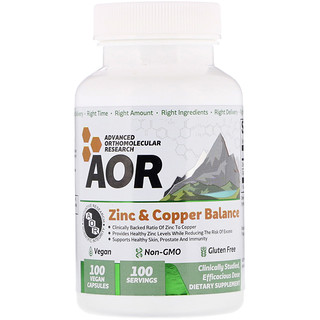 Advanced Orthomolecular Research AOR, Zinc & Copper Balance, 100 Vegan Capsules