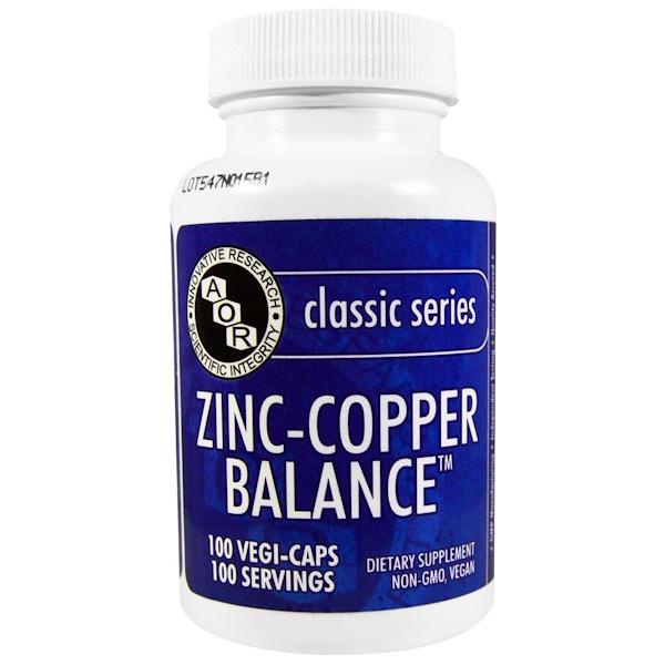 Advanced Orthomolecular Research AOR, Classic Series, Zinc-Copper Balance, 100 Veggie Caps