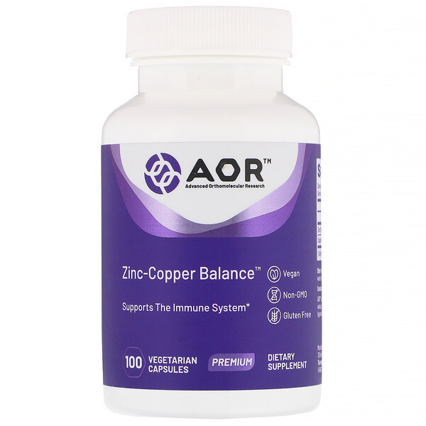 Advanced Orthomolecular Research AOR, Zinc-Copper Balance, 100 Cápsulas Vegetarianas