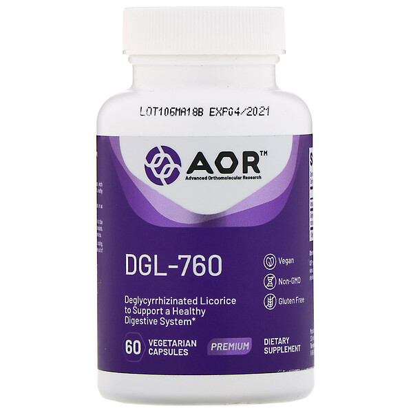 Advanced Orthomolecular Research AOR, DGL-760、植物性カプセル60粒