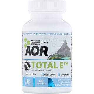 Advanced Orthomolecular Research AOR, アドバンスドシリーズ、トータルE、完全ビタミンE複合体、60ソフトゲル