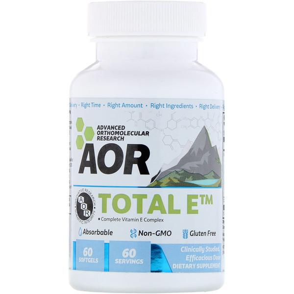 Advanced Orthomolecular Research AOR, Advanced Series, Total E, комплекс витамина Е, 60 мягких таблеток