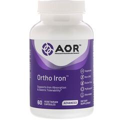 Advanced Orthomolecular Research AOR, Ortho Iron,60 粒素食膠囊