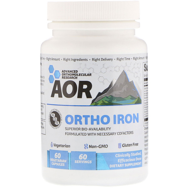 Advanced Orthomolecular Research AOR, Ortho Iron, 60 Vegetarian Capsules