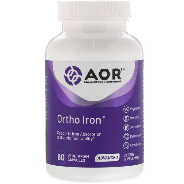 Advanced Orthomolecular Research AOR, Ortho Iron، عدد 60 كبسولة نباتية