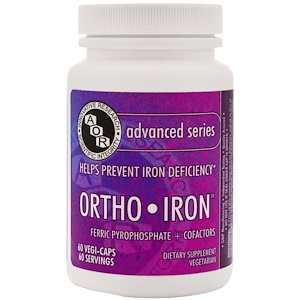 Advanced Orthomolecular Research AOR, Орто-железо, 60 растительных капсул