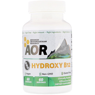 Advanced Orthomolecular Research AOR, Hydroxy B12, 60 Lozenges
