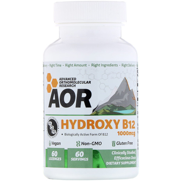 Advanced Orthomolecular Research AOR, Série classique, Hydroxyle B12, 60 pastilles