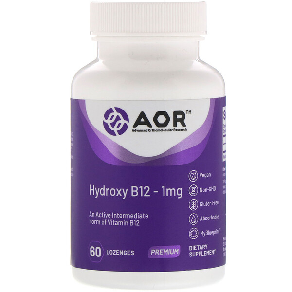 Advanced Orthomolecular Research AOR, Hydroxy B12, 1 mg, 60 Lozenges
