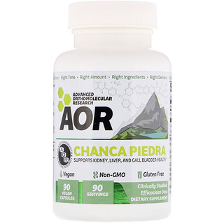 Advanced Orthomolecular Research AOR, Chanca Piedra, 90 Vegan Capsules