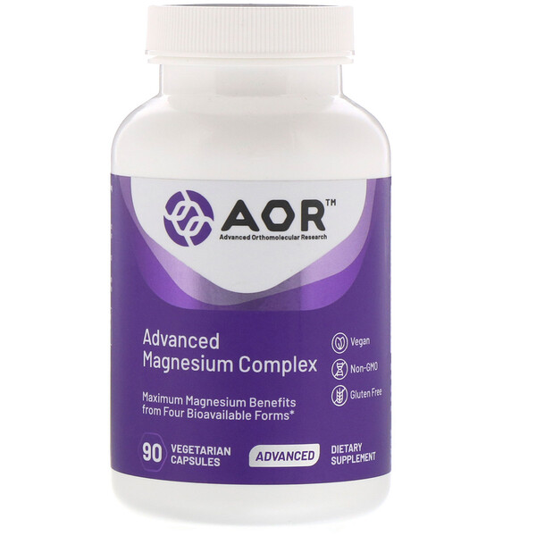 Advanced Orthomolecular Research AOR, 改進鎂複合劑,90 粒素食膠囊