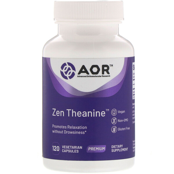 Advanced Orthomolecular Research AOR, Zen Theanine, 120 Vegetarian Capsules