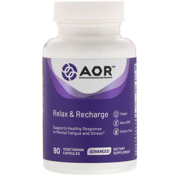Advanced Orthomolecular Research AOR, كبسولات Relax & Recharge، عدد 90 كبسولة نباتية
