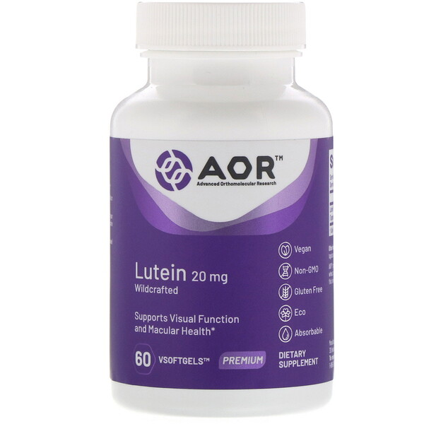 Advanced Orthomolecular Research AOR, Lutein, 20 mg, 60 VSoftgels