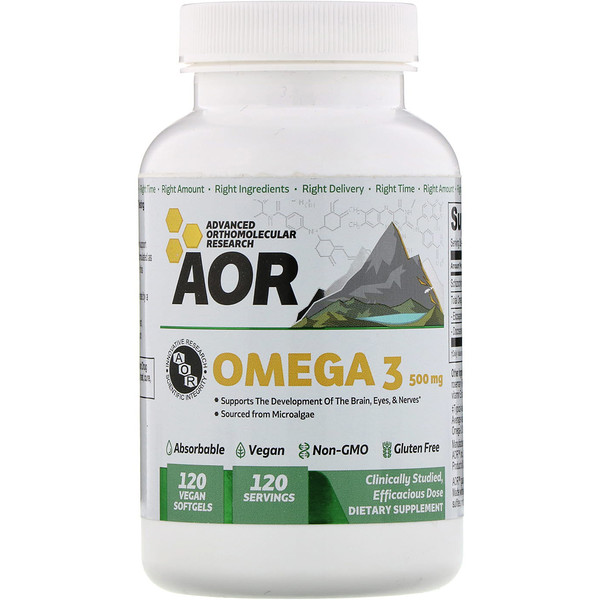 Advanced Orthomolecular Research AOR, オメガ3、500mg、ビーガンソフトジェル120錠 (Discontinued Item)