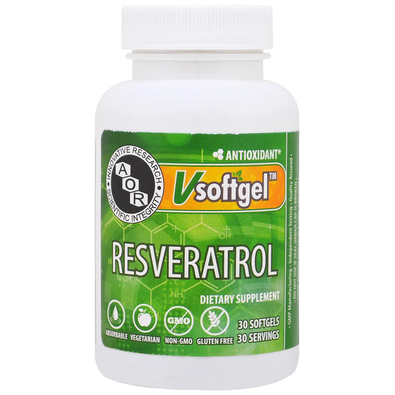 Advanced Orthomolecular Research AOR, Ресвератрол, 30 желатиновых капсул