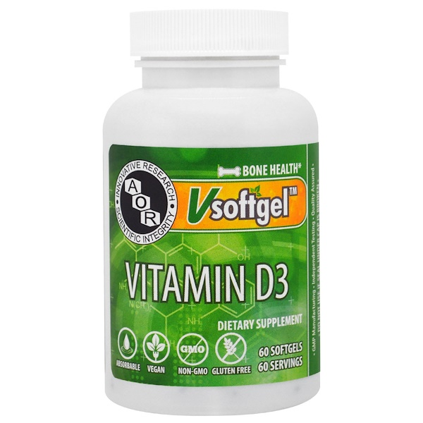 Advanced Orthomolecular Research AOR, Vitamin D3, 60 Softgels (Discontinued Item)