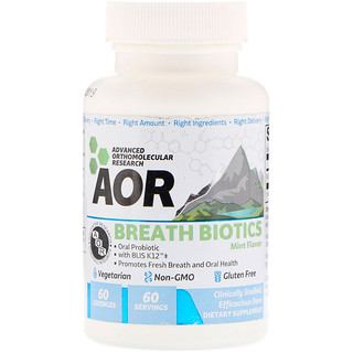 Advanced Orthomolecular Research AOR, Breath Biotics, Mint Flavor, 60 Lozenges